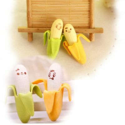 4X Colourful Stationery Fruit Banana Style Rubber Pencil Erasers For Kid student
