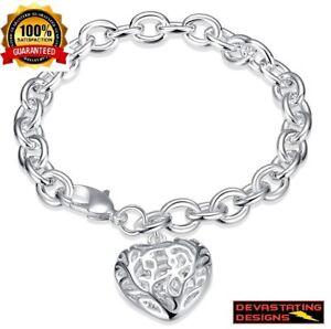 Mothers-Day-925-Sterling-Silver-Womens-Heart-Link-8-034-Bracelet-GiftPk-D473D