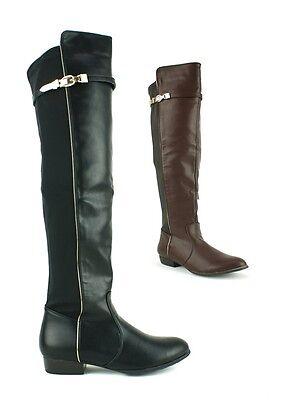 Señoras para mujer en la rodilla Botas talón plano imitación cuero cremallera Zapatos Nuevos Talle