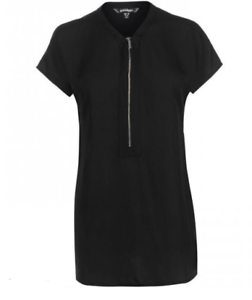 Golddigga-Woven-Y-Neck-Top-Lightweight-Ladies-Black-Zipper-UK-Size-14