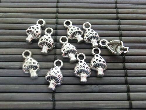 50 remolque Charms hongos color plata Antik metal 13x7mm #364