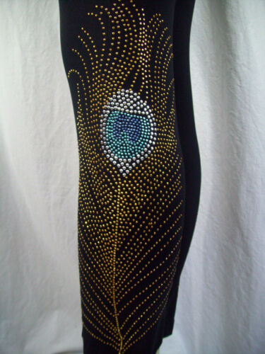 PLUS Size Leggings Hand Embellished Gold Silver Blue Stud Peacock Feathers