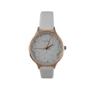White Armband- & Taschenuhren Ladies Leather Fashion Watch With Flower Face