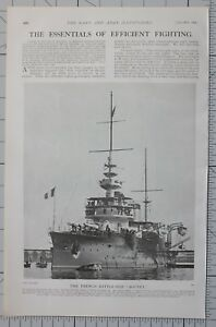 1901 Aufdruck Französischer Battle Schiff Bouvet