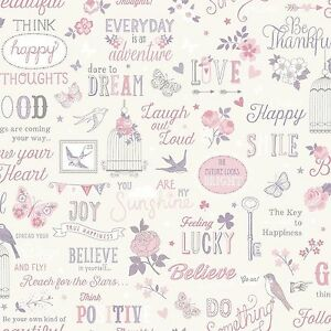 vintage shabby chic girls quote wallpaper pink lilac. Black Bedroom Furniture Sets. Home Design Ideas