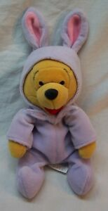 Disney-WINNIE-THE-POOH-BEAR-IN-PURPLE-BUNNY-COSTUME-8-034-Bean-Bag-STUFFED-ANIMAL