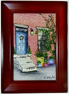 """M.JANE DOYLE SIGNED ORIGINAL ART OIL/CANVAS PAINTING """"THE DOORWAY"""" FRAMED"""