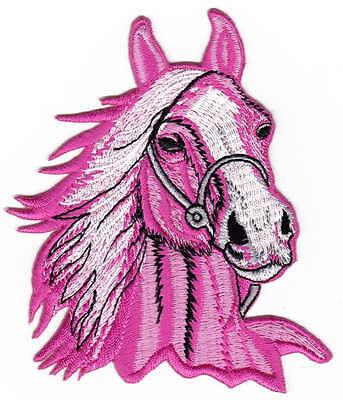 am63 Pferd Pferdekopf Aufnäher Bügelbild Patch Reiten Reitsport Hengst Pony NEU