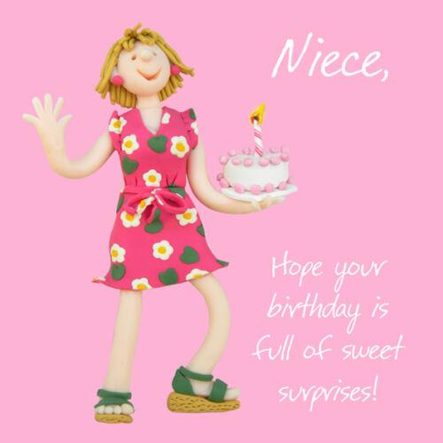 Nièce sweet Surprises Anniversaire Carte de vœux une bosse ou deux cartes saint maquereau
