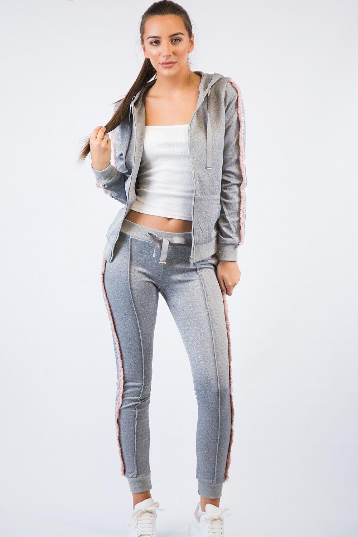 Tute DA DONNA GRIGIO GRIGIO GRIGIO rosa VOLANT Abbigliamento Sportswear Serie (Nero Grigio) f005b0