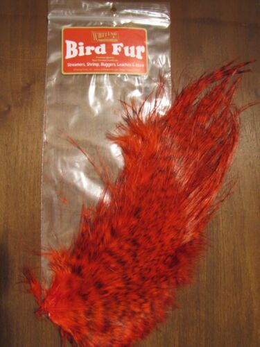 Fly Tying-Whiting Farms Spey Bird Fur Grizzly dyed Red