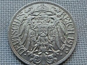 Germany-Empire-Kaiser-Wilhelm-II-25-Pfennig-1912-Crowned-Imperial-Prussian-Eagle