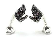 Deakin and Francis Sterling Silver Black Spinel Shark Head Cufflinks Ruby Eyes