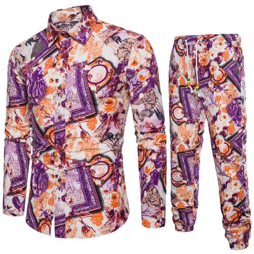 Mens Fashion Casual Long Sleeve Shirt Business Slim Fit Shirt Print Blouse Top X