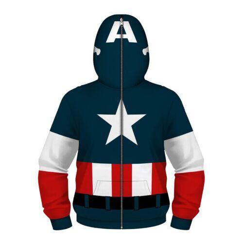 Kinder Marvel Deadpool Spiderman 3D Hoodie Kapuzenpullover Sweatshirt Sweatjacke