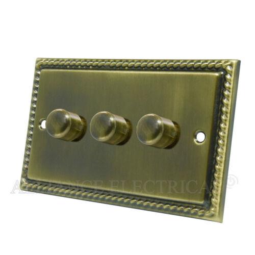 10 amp 1 Gang 2G 3G 4G 2 voie variateur Georgian Laiton Antique LED Variateur 250W