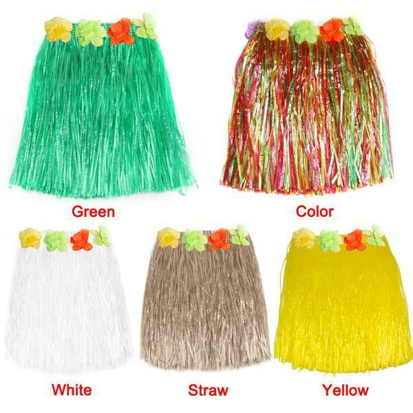 Hawaiian Grass Skirt Flower Hula Fancy Dress Adult Costume Summer Beach Party