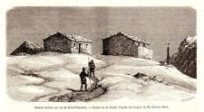 Antique print Mont Rose Dolfus station Col de Saint Theodule 1870
