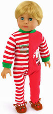 """Holiday Footie Pajamas for 18"""" American Girl BOY Logan Doll Clothes"""