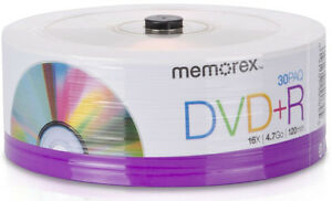 30-New-Memorex-16X-Silver-Logo-Eco-Blank-DVD-R-Plus-R-Media-FREE-Priority-Mail