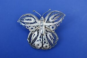 Vintage-Mexico-Filigree-Sterling-Silver-Butterfly-Brooch-pin