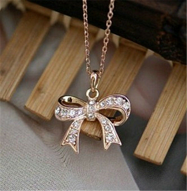 18K Rose Gold Gp Austrian Crystal Bow-knot Fashion Jewelry Chain Necklace BR919