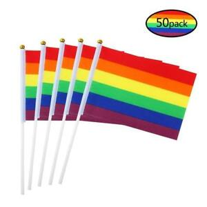 50-x-Regenbogen-Fahne-am-Stab-Flagge-Rainbow-GAY-LESBIEN-FAHNEN-14x21x30-Pride