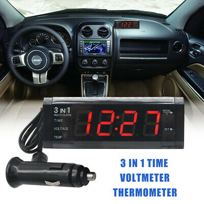 12v car Digital led Uhr clock Temperatur Anzeige Dual thermometer voltmeter time