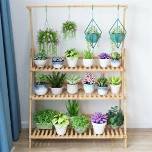 Bamboo-Wooden-Shelf-Plant-Stand-Folding-Multi-Tier-Flower-Storage-Indoor-Outdoor
