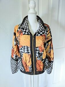 80s-90s-Vintage-Women-039-s-S-M-Checker-Check-Animal-Print-Mix-Windbreaker-Jacket