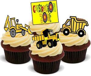 NOVELTY Diggers Trucks Men At Work Mix 12-48 VANILLA Cake Toppers Edible Icing