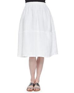 cab58873d26 NWT Eileen Fisher Calf Length Oval Organic Linen Skirt White  228 ...