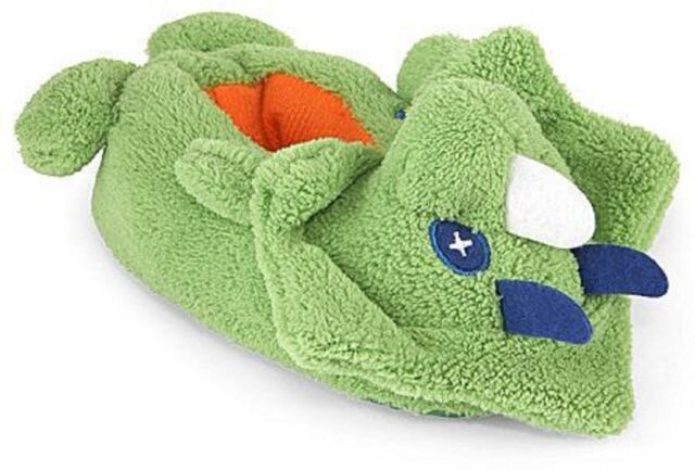 Okie Dokie Green Dinosaur Upside-Down Non Skid Slippers Size M 7//8