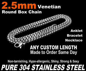 3mm Venetian Round Box Chain Necklace 7-50 Long or Custom Pick 18