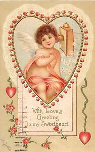 A17-Valentine-039-s-Day-Holiday-Postcard-Embossed-1909-Clapsaddle-Heart-Fancy-8