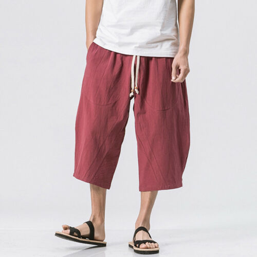 Summer Mens Casual Linen Drawstring 3//4 Short Trousers Pants Cotton Solid Loose