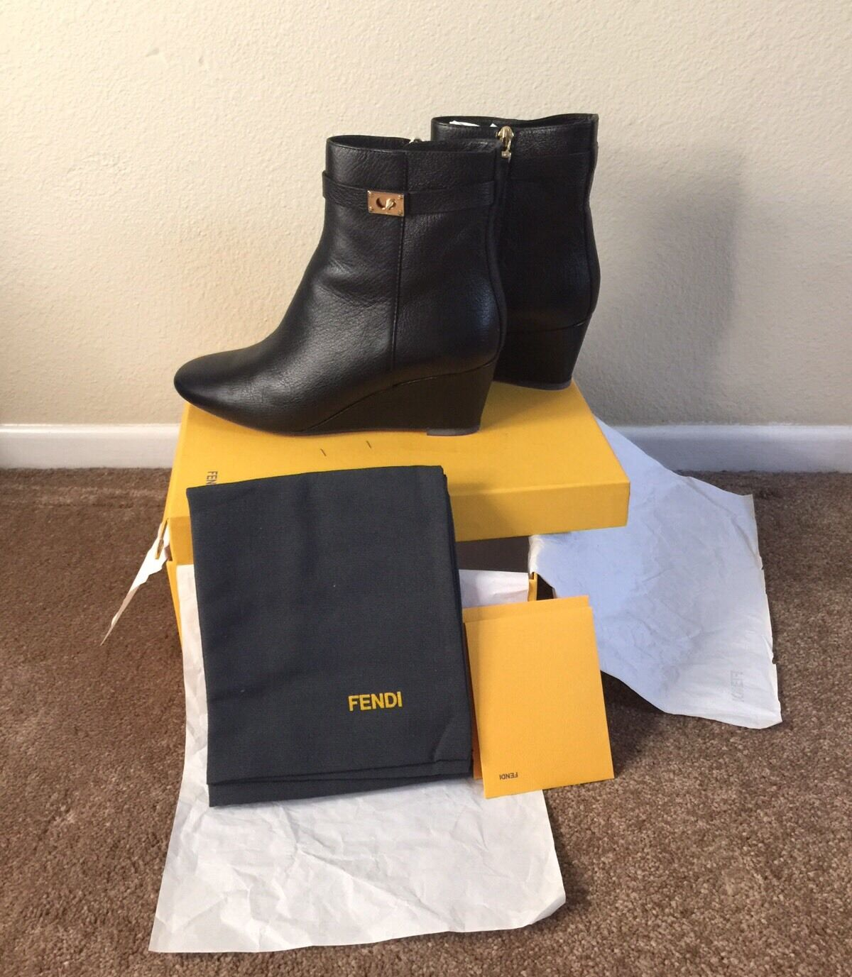 Fendi Goldmine Black Leather Wedge Bootie Ankle Boots US 9