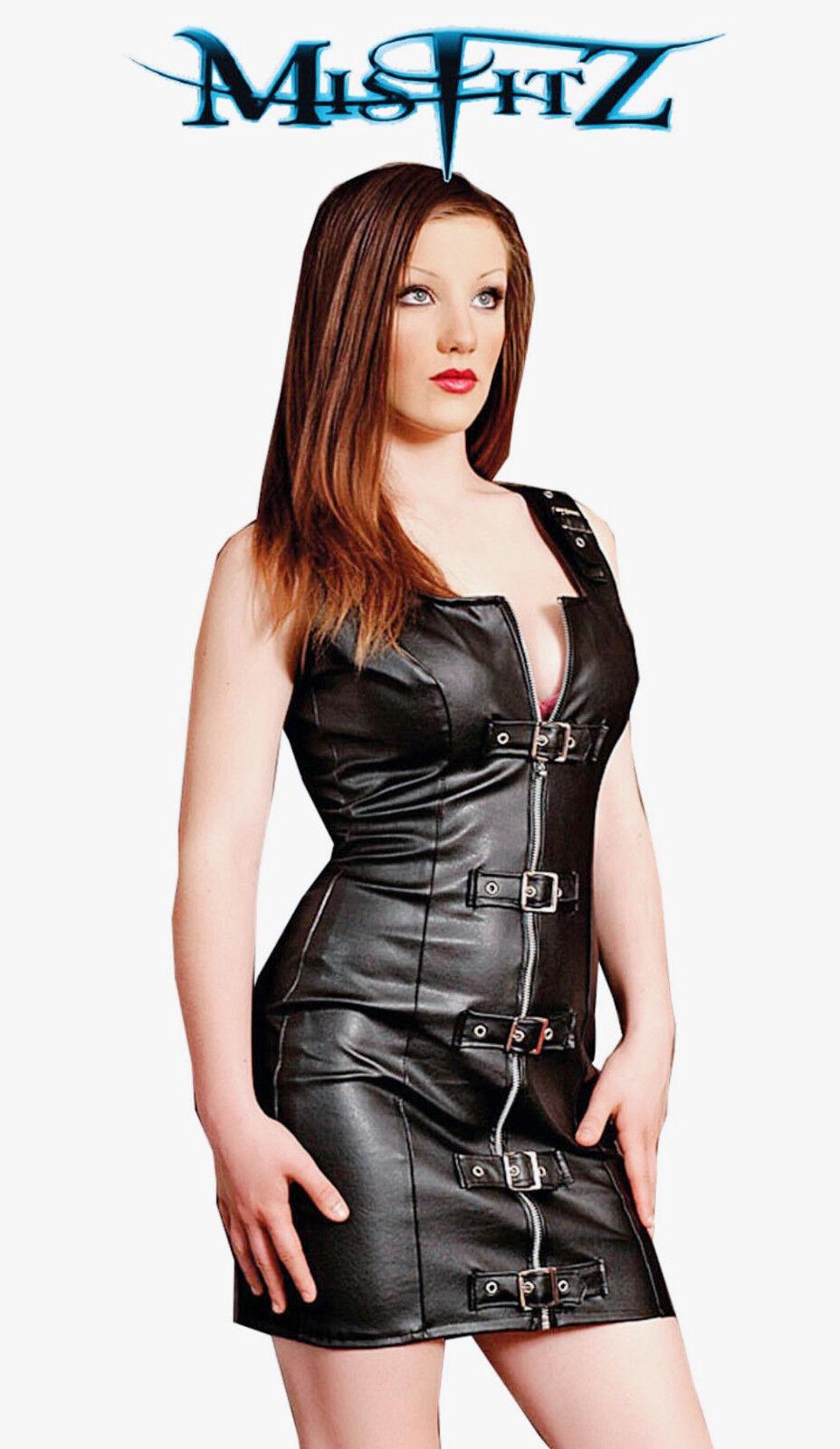 Misfitz Misfitz Misfitz BLK Leather Look Buckle Vestito Taglie 8-32 MADE TO MEASURE Punk Biker Rock 82196b