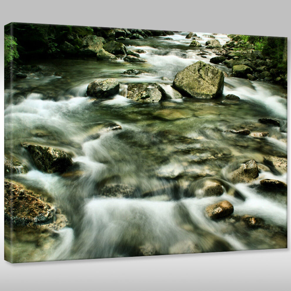 Quadro Quadro Quadro su tel Tela telaio con cunei Natura paesaggio di Montagna ruscello c0c190