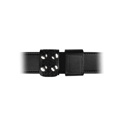 Boston Leather 5496-3-N Black Basketweave Double Wide Belt Keeper Nickel Snaps