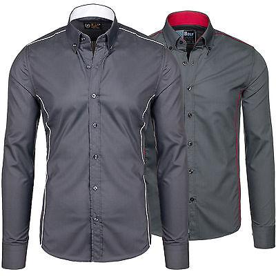 BOLF 4751 Langarm Herrenhemd Figurbetont Freizeit Hemd Slim 2B2 Freizeithemd