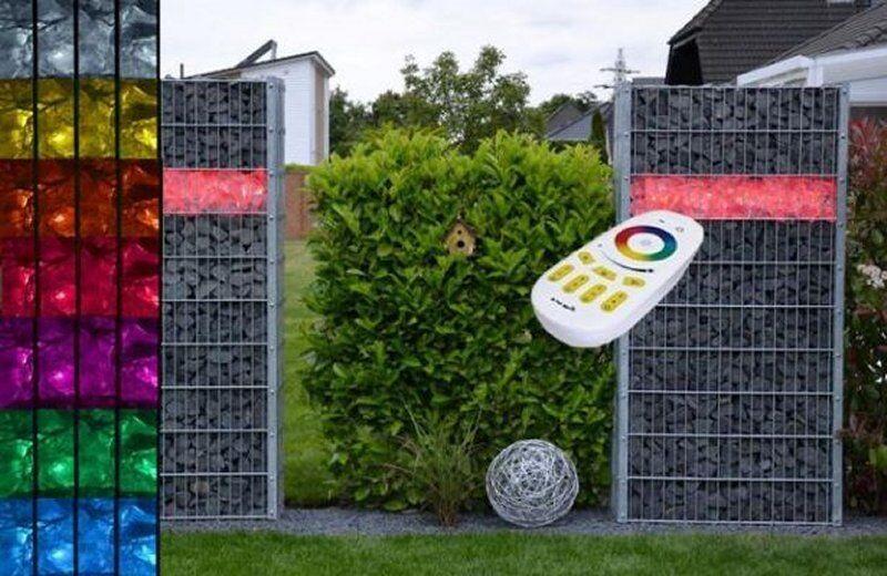 LED Gabionen Leuchte 45cm länge 360° Farbe RGB+WW Garten Deko Garten  8129