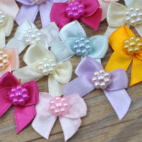 20pcs Lace Ribbon Bows Flowers Wedding Appliques Craft U pick  E262