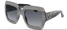 NEW Gucci Oversize square-frame rhinestone  GG 0048 S 001 Sunglasses