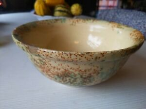 Vintage-Stoneware-Yellow-SpongeWare-Art-Pottery-Bowl-Green-Brown-As-Is