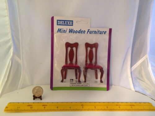 1:12 MINIATURE VINTAGE SET OF 2 WOODEN CHAIRS WITH RED UPHOLSTERED SEATS