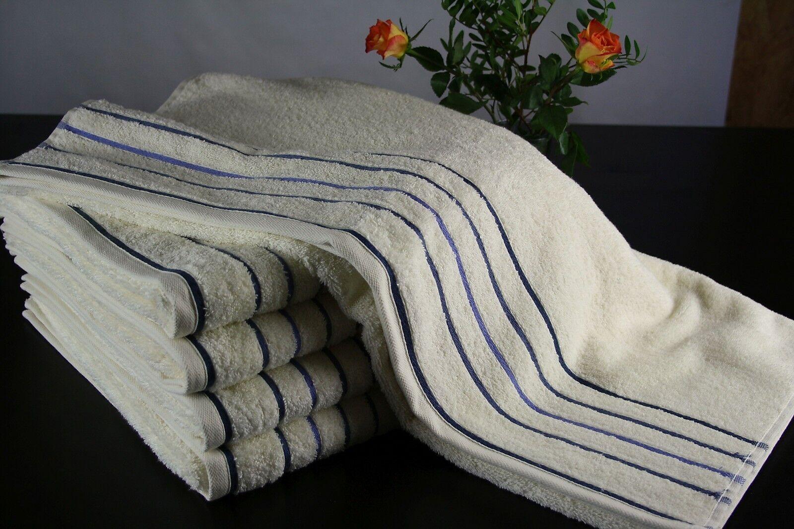 10 10 10 wollWeiße Duschtücher,100 % Baumwolle 500 g m², ca. 70x140 cm, blaue Streifen ca54e5
