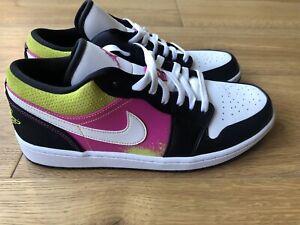 Nwb Nike Air Jordan 1 Low Se Mens Black White Fushia Cyber Shoes