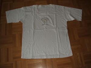 1-Damen-T-Shirt-Gr-44-46-kurzarm-weiss-mit-Stickerei-Rundhals-getragen