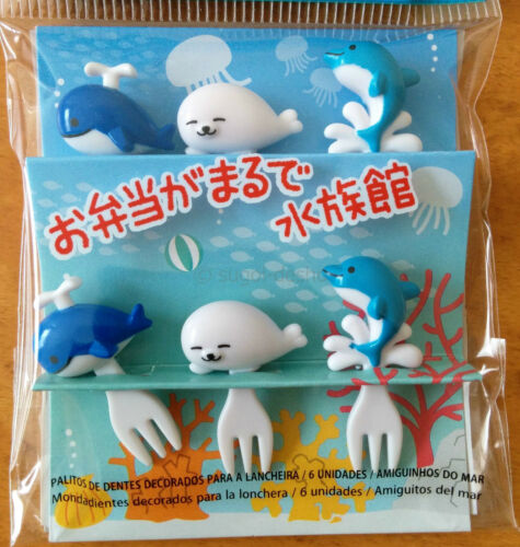 Cute Ocean Friends Food Fork Picks for Japanese Bento Lunch Box Whale Seal